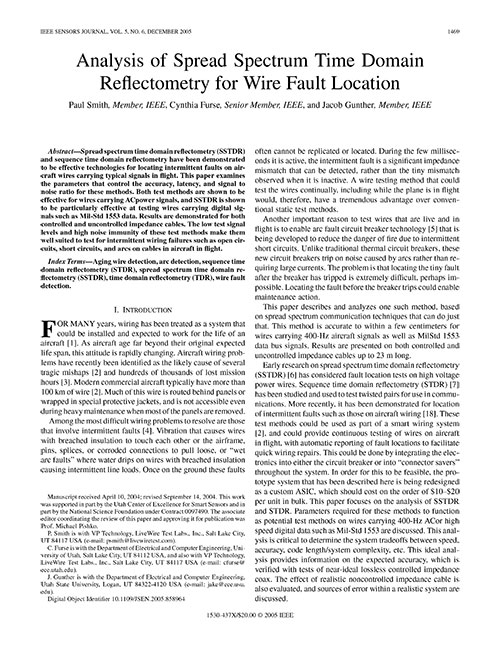 Analysis of SSTDR for Wire Fault Location Analysis of SSTDR for Wire Fault Location