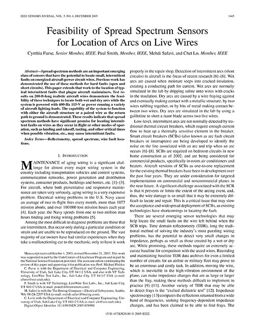 Feasibility of Spread Spectrum Sensors for Location of Arcs on Live Wires Feasibility of Spread Spectrum Sensors for Location of Arcs on Live Wires